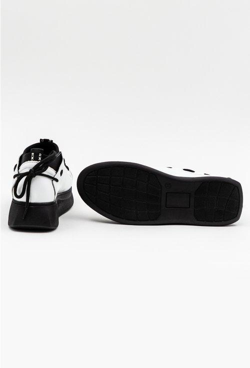 Pantofi albi din piele si material textil cu detalii negre