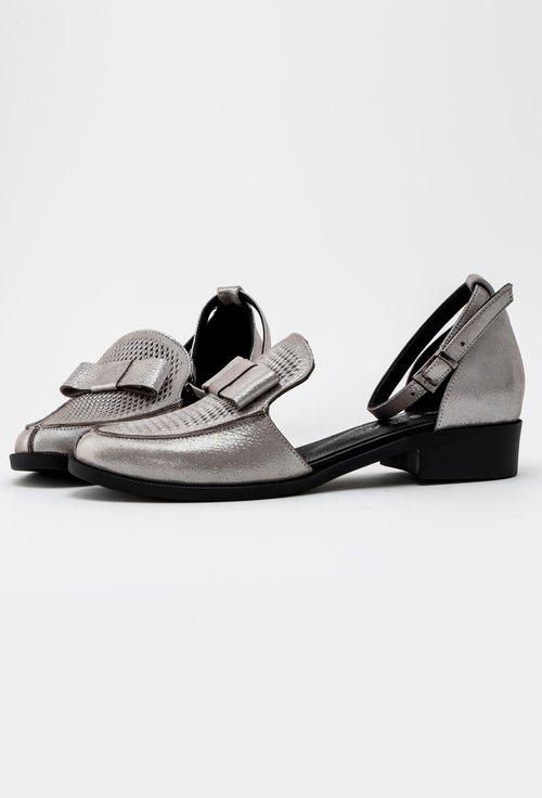 Pantofi argintii decupati din piele naturala Izara