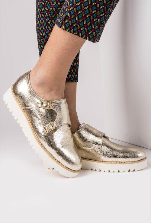 Pantofi aurii din piele naturala Ragnar