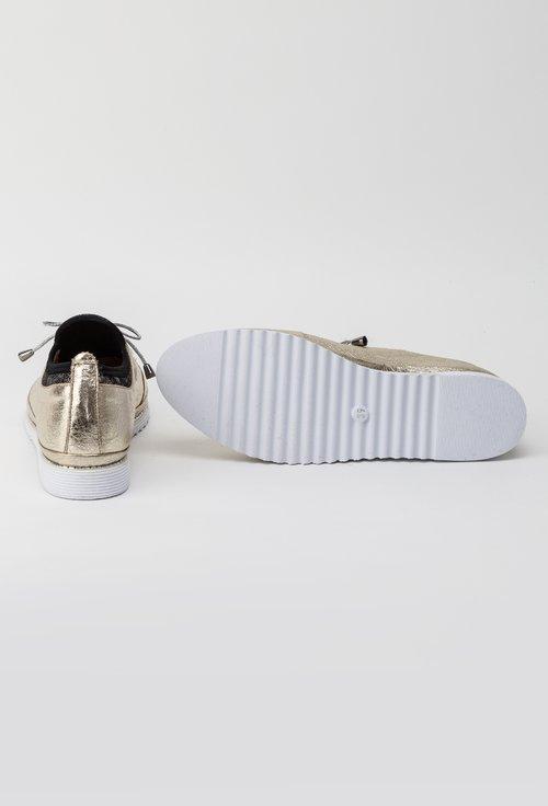 Pantofi aurii din piele naturala Star