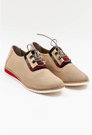 Pantofi crem din piele naturala
