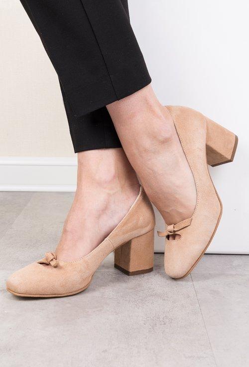 Pantofi bej din piele naturala Fancy