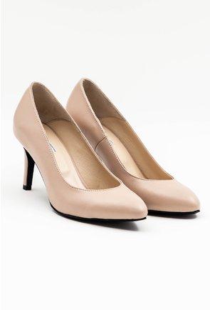 Pantofi bej stiletto din piele naturala