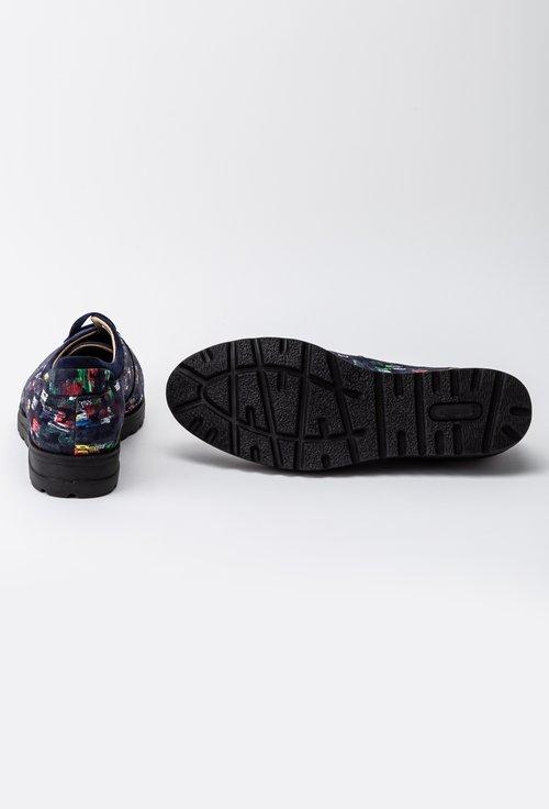 Pantofi bleumarin din piele intoarsa cu imprimeu tip pictura