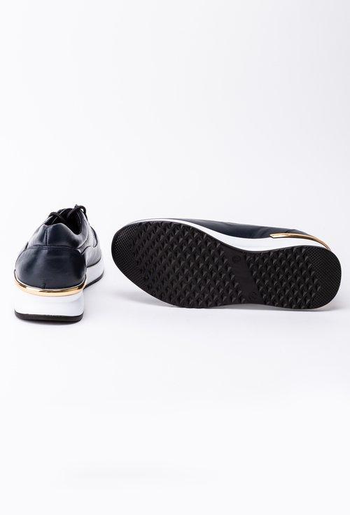 Pantofi bleumarin din piele naturala box cu talpa alba