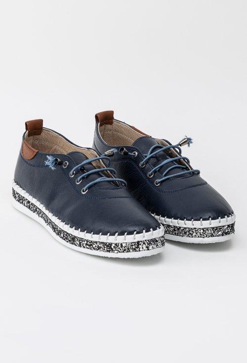 Pantofi bleumarin din piele naturala cu detalii sclipitoare Hiperion