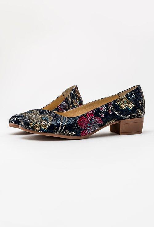 Pantofi bleumarin din piele naturala cu imprimeu floral colorat Rafaela