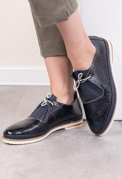 Pantofi bleumarin din piele naturala cu imprimeu tip piele de reptila Adina