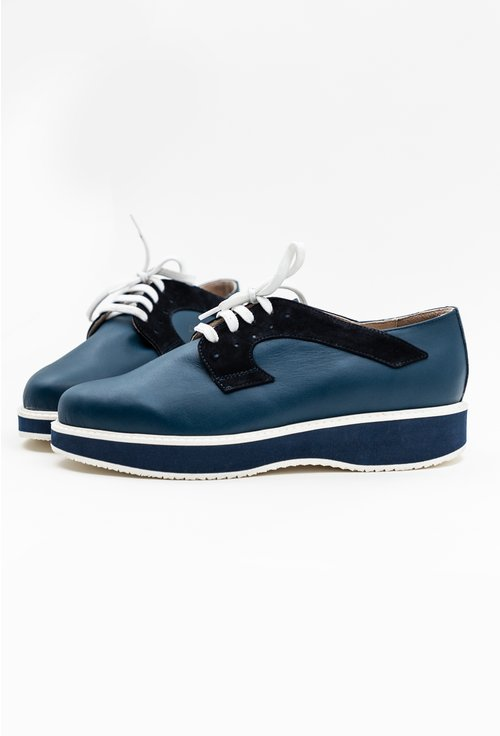 Pantofi bleumarin din piele naturala intoarsa si box