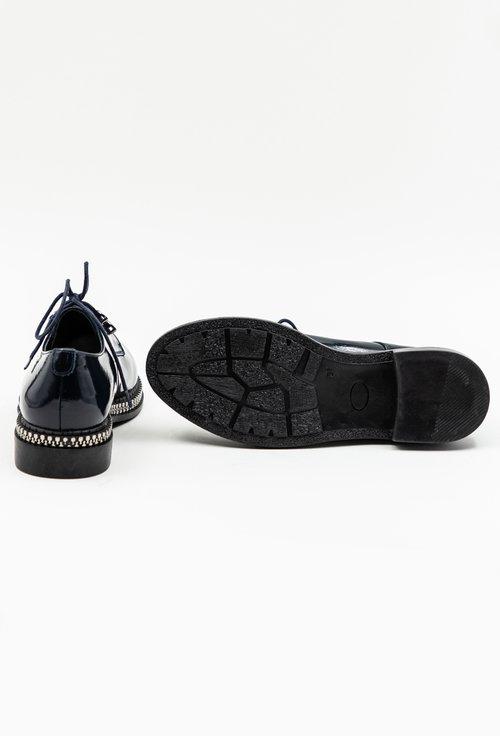 Pantofi bleumarin din piele naturala lacuita cu detaliu cu fermoar