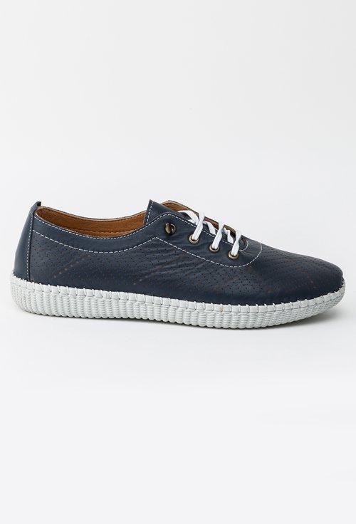 Pantofi bleumarin inchis din piele naturala Stela