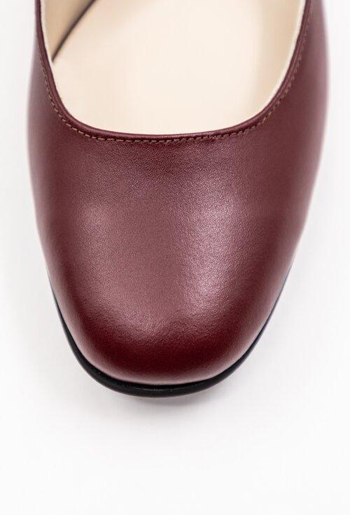 Pantofi bordo din piele cu bareta