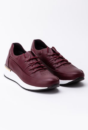Pantofi bordo din piele naturala box cu talpa alba