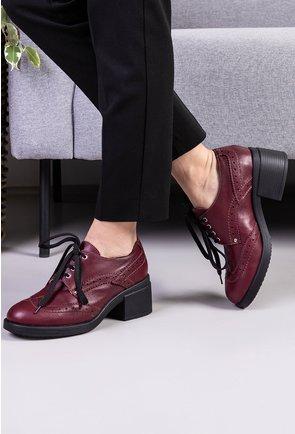 Pantofi bordo din piele naturala cu toc patrat