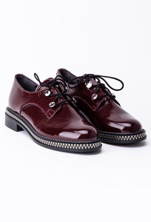 Pantofi bordo din piele naturala lacuita cu detaliu cu fermoar