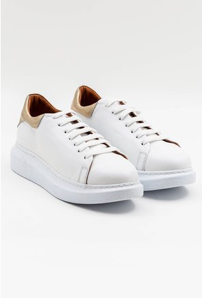 Pantofi casual albi din piele cu detaliu sidefat