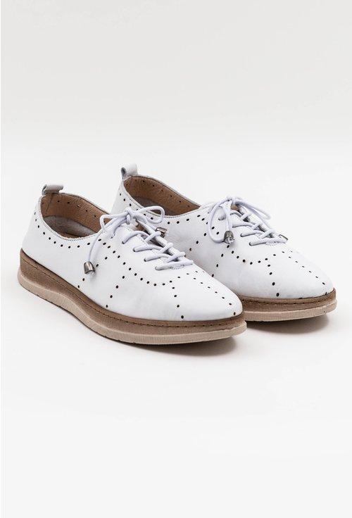 Pantofi casual albi din piele naturala