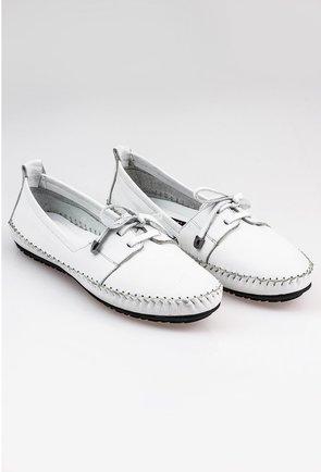 Pantofi casual albi din piele naturala cu detaliu cusatura