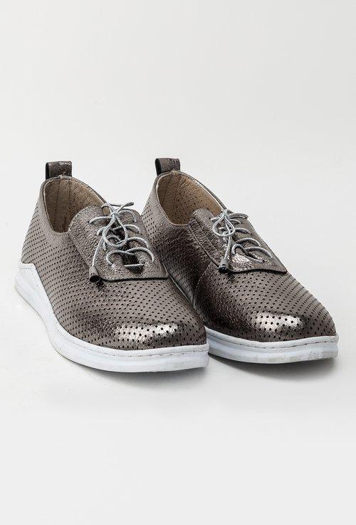 Pantofi casual argintii din piele naturala Jacob