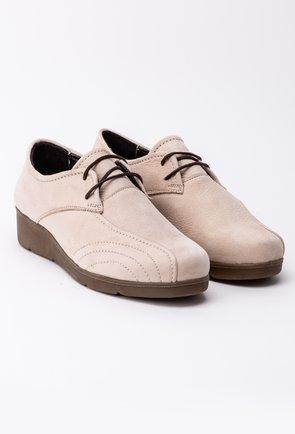 Pantofi casual bej din piele intoarsa cu șiret si cusaturi decorative