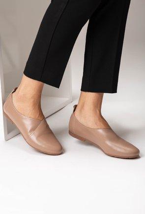 Pantofi casual din piele naturala nuanta bej