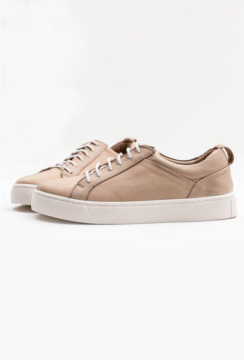 Pantofi casual bej din piele naturala