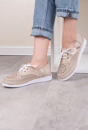 Pantofi casual bej din piele naturala Atena