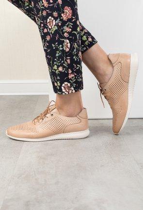 Pantofi casual bej din piele naturala Heba