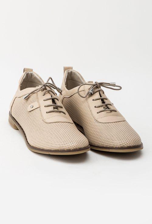 Pantofi casual bej din piele naturala Ignacia