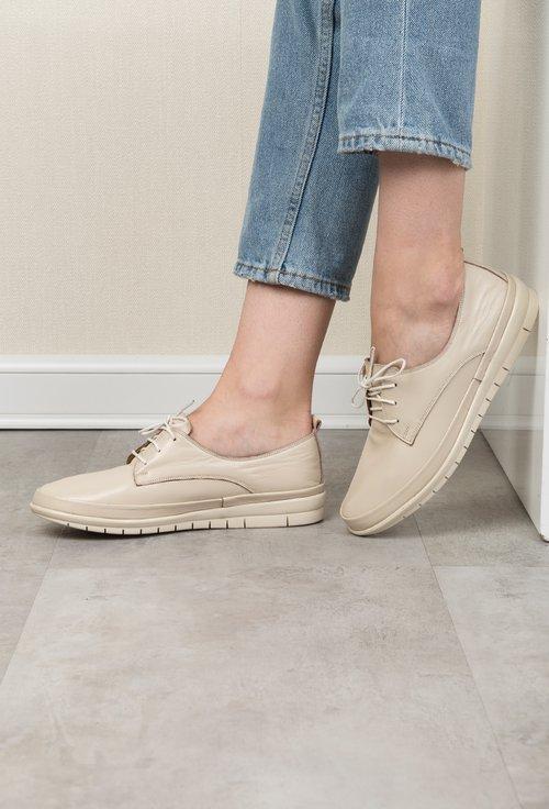 Pantofi casual bej din piele naturala Jessica