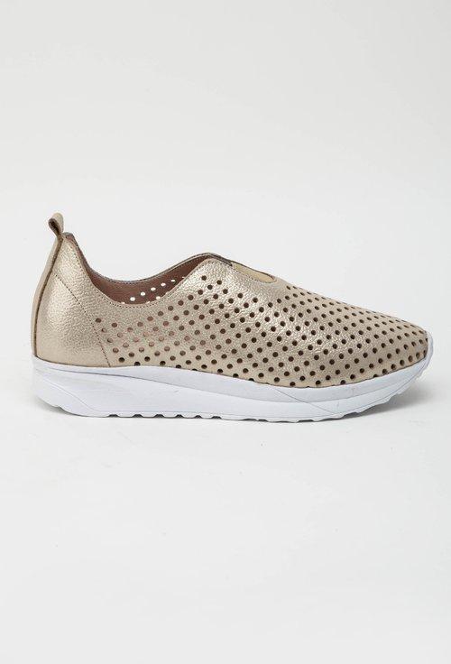 Pantofi casual bej din piele naturala perforata Kim