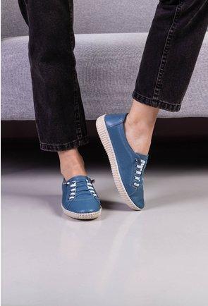 Pantofi casual bleu din piele naturala