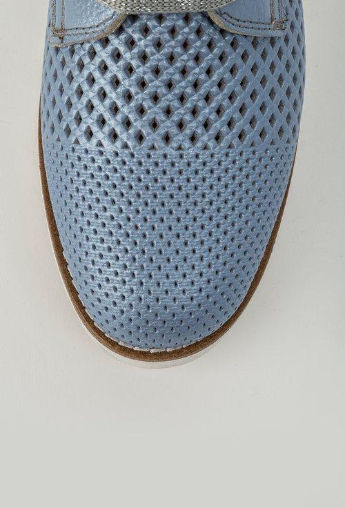 Pantofi casual bleu perforati din piele naturala Midori