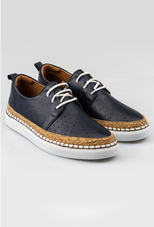 Pantofi casual bleumarin din piele naturala cu detaliu auriu