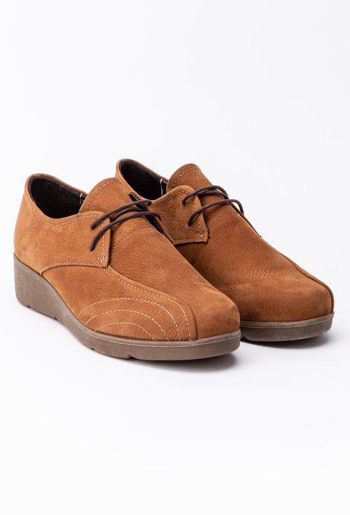 Pantofi casual camel din piele intoarsa cu șiret si cusaturi decorative