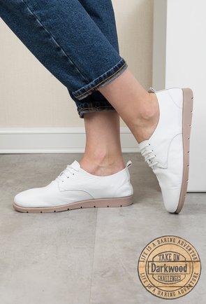 Pantofi casual Darkwood albi din piele naturala Iliana