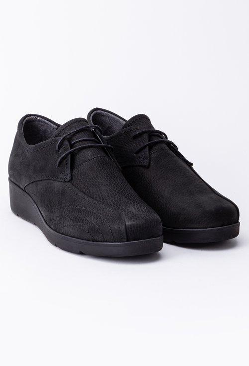 Pantofi casual din piele intoarsa cu șiret si cusaturi decorative