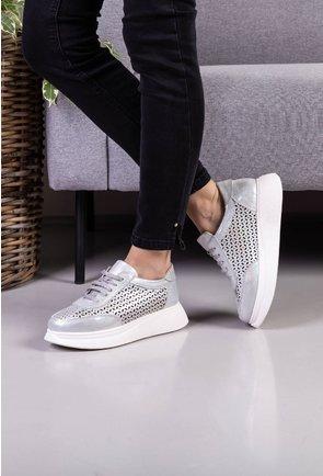 Pantofi casual din piele naturala argintii cu insertii sclipitoare