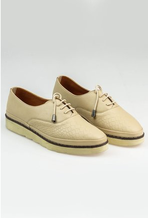 Pantofi casual din piele naturala crem