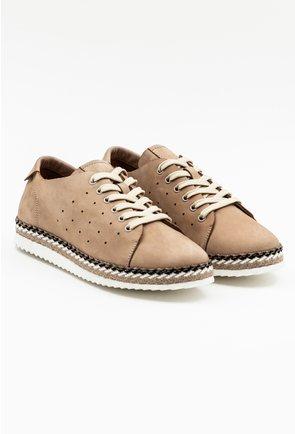 Pantofi casual din piele naturala intoarsa nuanta bej