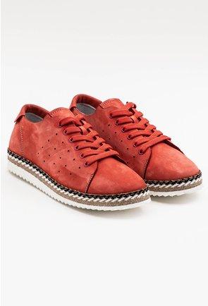 Pantofi casual din piele naturala intoarsa nuanta corai