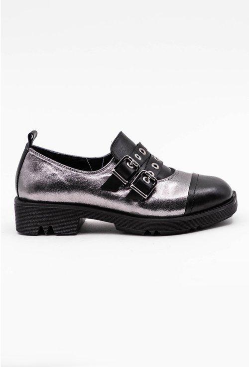 Pantofi casual din piele naturala nuanta gri metalizat