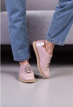 Pantofi casual din piele naturala roz pal cu insertii sclipitoare