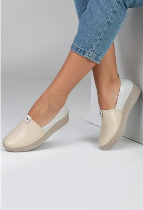 Pantofi casual din piele naturala taupe si portiuni argintii