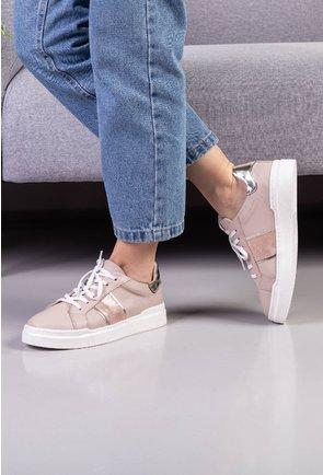 Pantofi casual din piele nuanta nude cu detaliu snake print