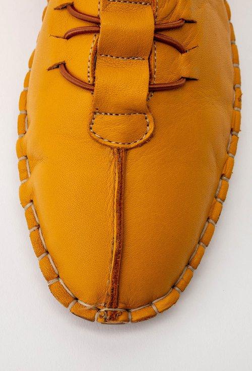 Pantofi casual galbeni din piele cu siret elastic