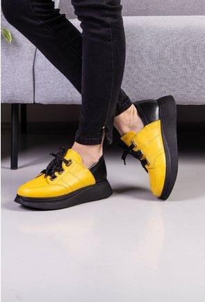 Pantofi casual galbeni din piele naturala