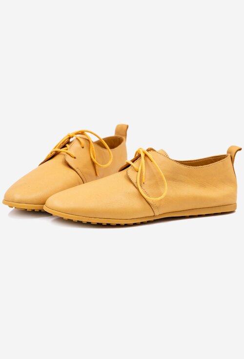 Pantofi casual galbeni din piele naturala box