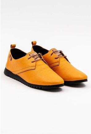 Pantofi casual galbeni din piele naturala cu talpic buretat