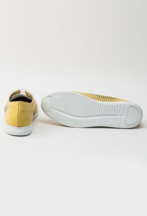 Pantofi casual galbeni din piele naturala Yasmine